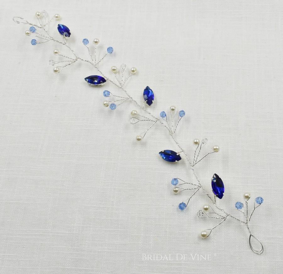 Hochzeit - Sapphire Blue Wedding Hair Vine, Bridesmaids Hair Accessories