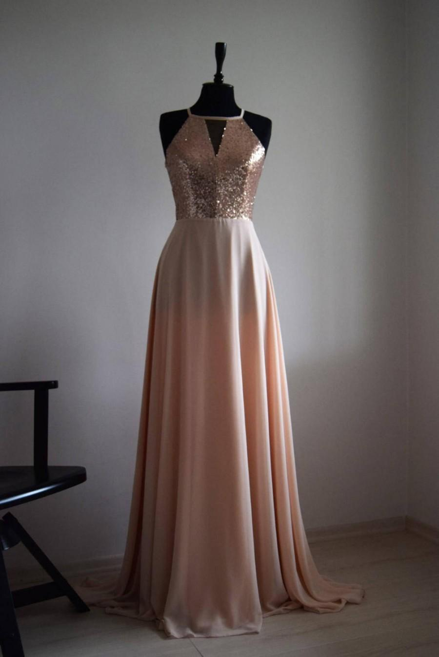Wedding - Charming Chiffon With Top Sequin Blush Pink Bridesmaid Dress, Handmade, Sleeveless Full Length Sequin Evening Prom Dress, Wedding Party