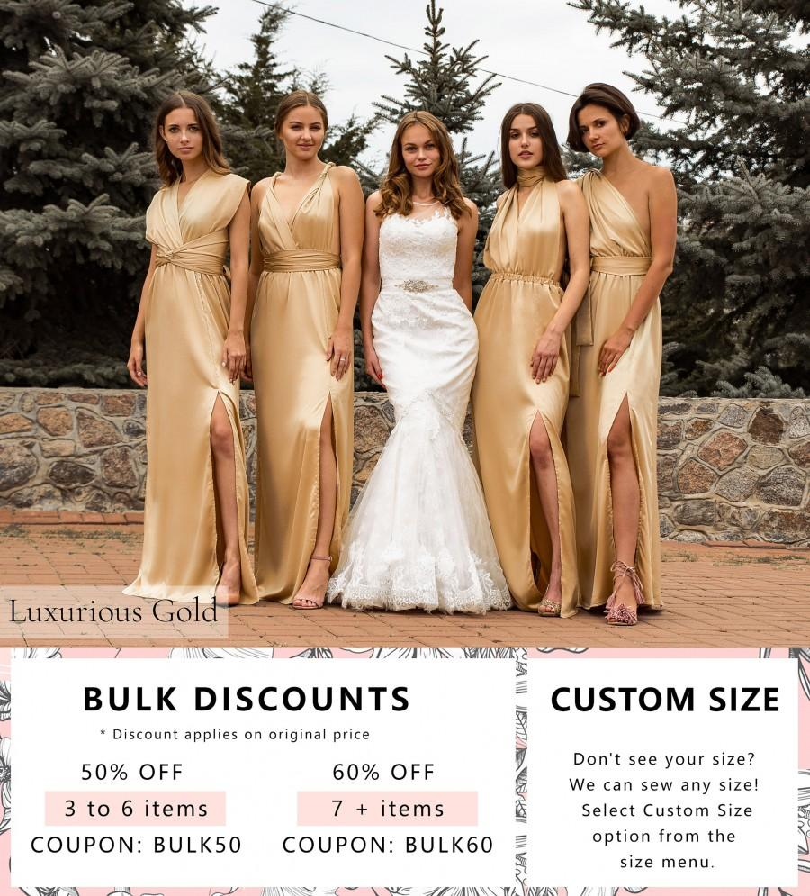 Hochzeit - Multiway Gold Nude Bridesmaid Dress • Long Silk Infinity Prom Wrap Transformer • Sexy Satin Plus Size Wedding Gown •  Luxury Gift for Her