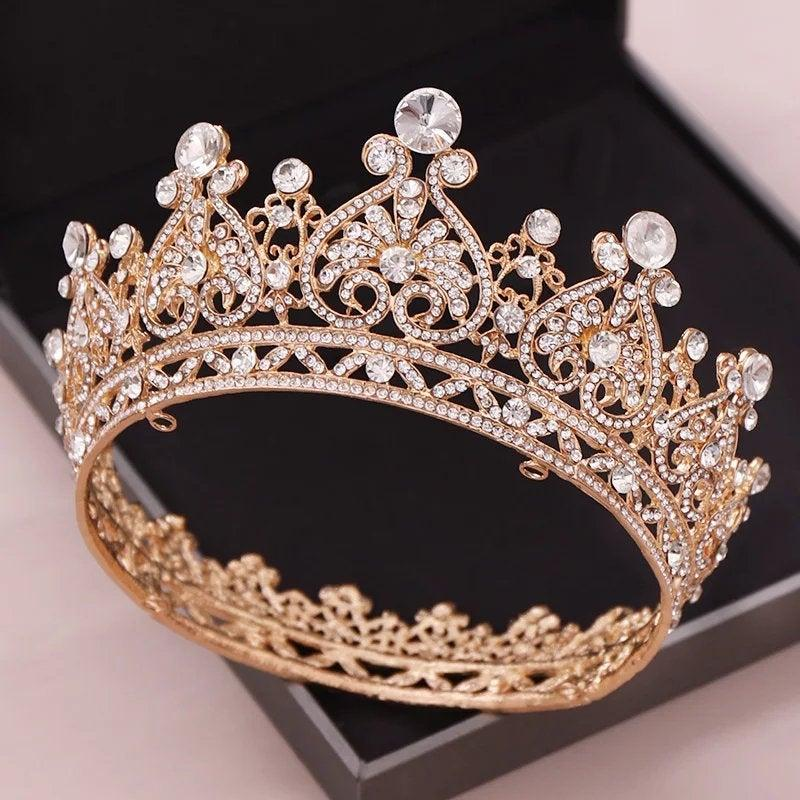 Hochzeit - Big Round Crowns Baroque Tiara Crown Crystal Heart Wedding Hair Accessories Queen Princess Diadem Bridal Ornaments,wedding gold tiara,