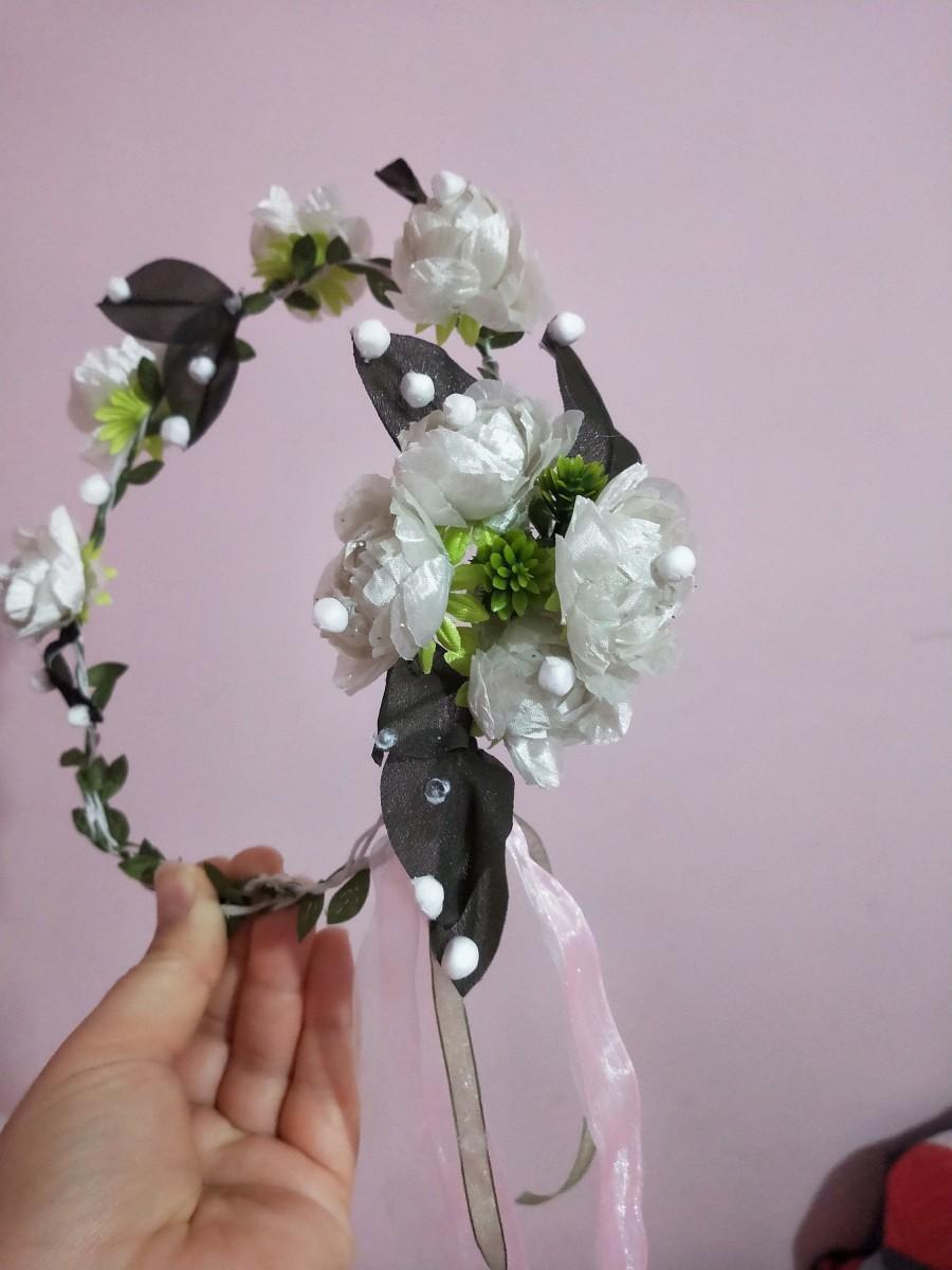 Hochzeit - white rose crown, white flower wreath, Spring  Flower Crown, Bohemian flower crown, Bridal Crown, Flower girl Crown, Floral Hair Wreath