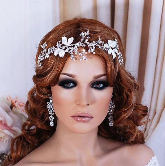 Hochzeit - Silver or Gold Bridal Headpiece Wreath Hair Vine Party Hairpiece Head Piece Accessory Weddings Headband Bride Wedding Floral Brides Gift