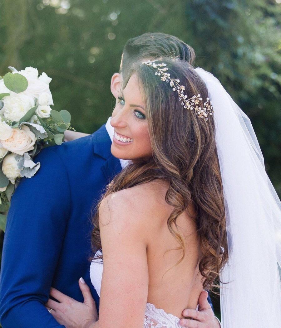 Hochzeit - Bridal Headband, Gold Hair Vine, Leaf Hair Vine, Flower Hair Vine, Rhinestone Hair Piece, Wedding Hair Accessory, Bridal Hair Crown
