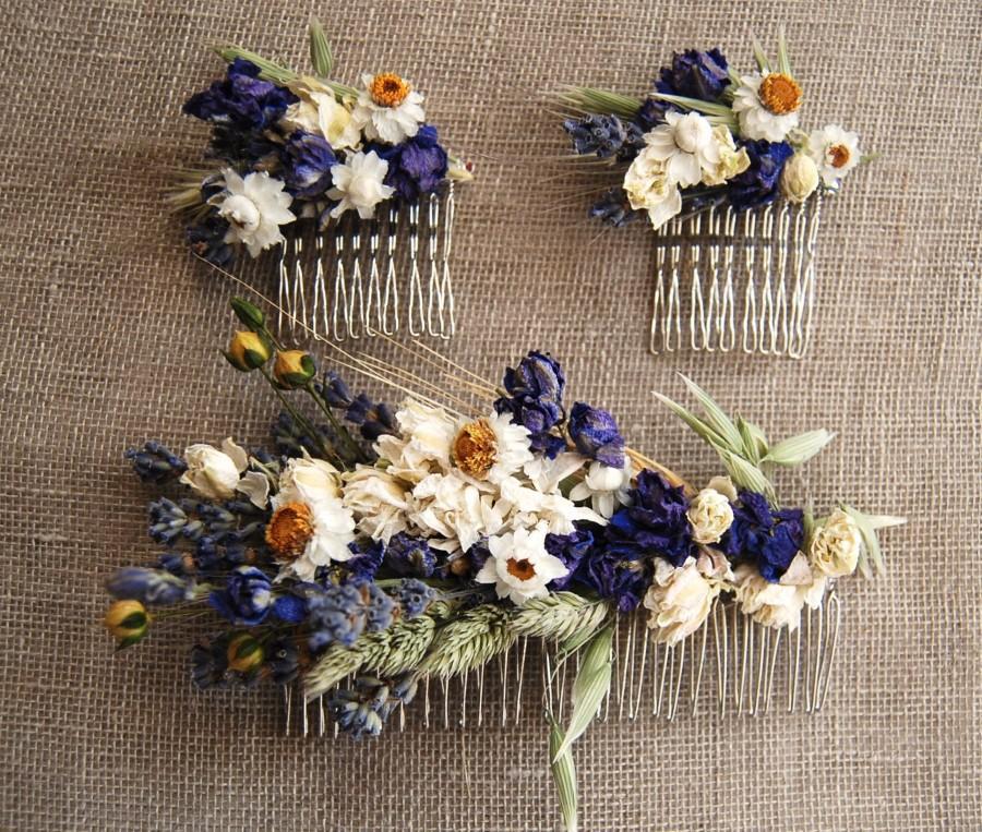 Wedding - Custom Dried Flower Comb Wildflowers Grasses Daisies Rice Oats Dried Flower Wedding Hair Comb