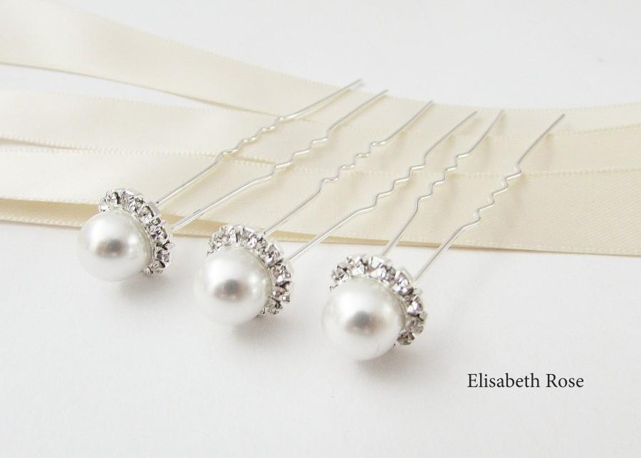 Hochzeit - Set of 3 Pearl Hair Pins, Pearl Wedding Hair Pins, 3 Hair Pins, Pearl and Crystal Bridal Hair Pins, Hair Pins for Bride