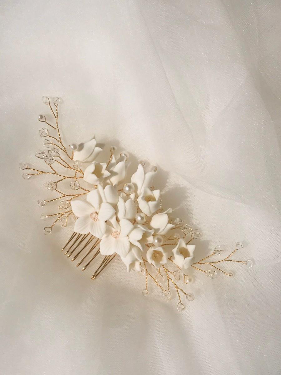Wedding - FREE SHIPPING -  Handmade Porcelain Faith Floral Bridal Hair Comb - Delicate Wedding Hair Comb, Wedding Flowers, Bridal Hair Accessories