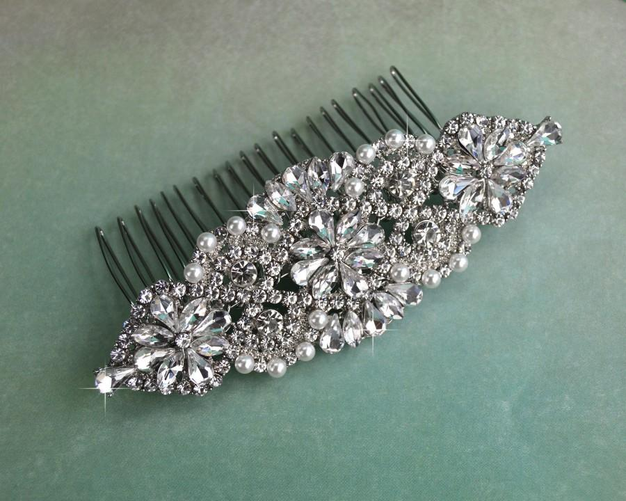 Wedding - Crystal & White Pearl Wedding Hair Comb, Rhinestone Bridal Comb, Silver Wedding Hair Comb, Headpiece, Vintage Bridal Side Comb CO-022