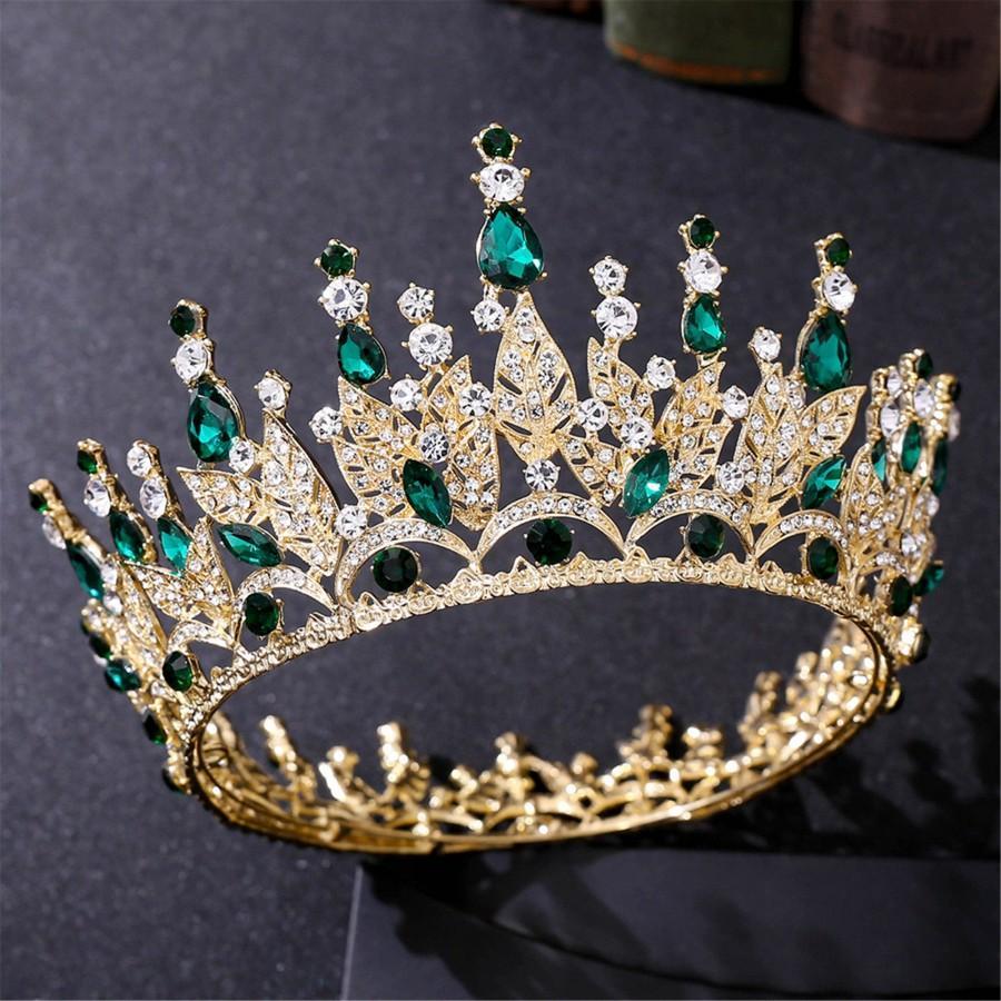 Wedding - Emerald Crystal Wedding Crown//Gold Bridal Crown//Emerald Wedding Tiara//Gold Bridal Tiara//Emerald Girls Birthday Party Crown