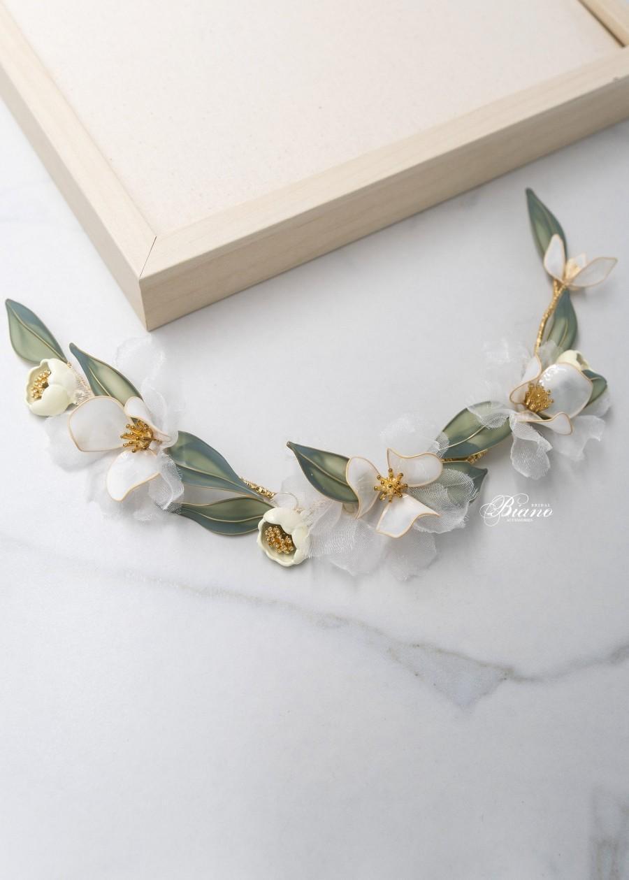 Wedding - Wedding hair accessory, Floral wedding hair comb, leaf hair comb, Bridal hair pin flower, Wedding headpiece - Esme