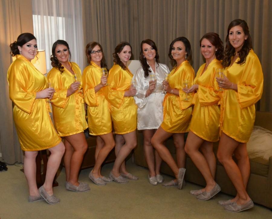 زفاف - Bridesmaid Robes Yellow Gold wedding robes bridesmaid silk robe dressing gown personalized silk robe kimono robes brida
