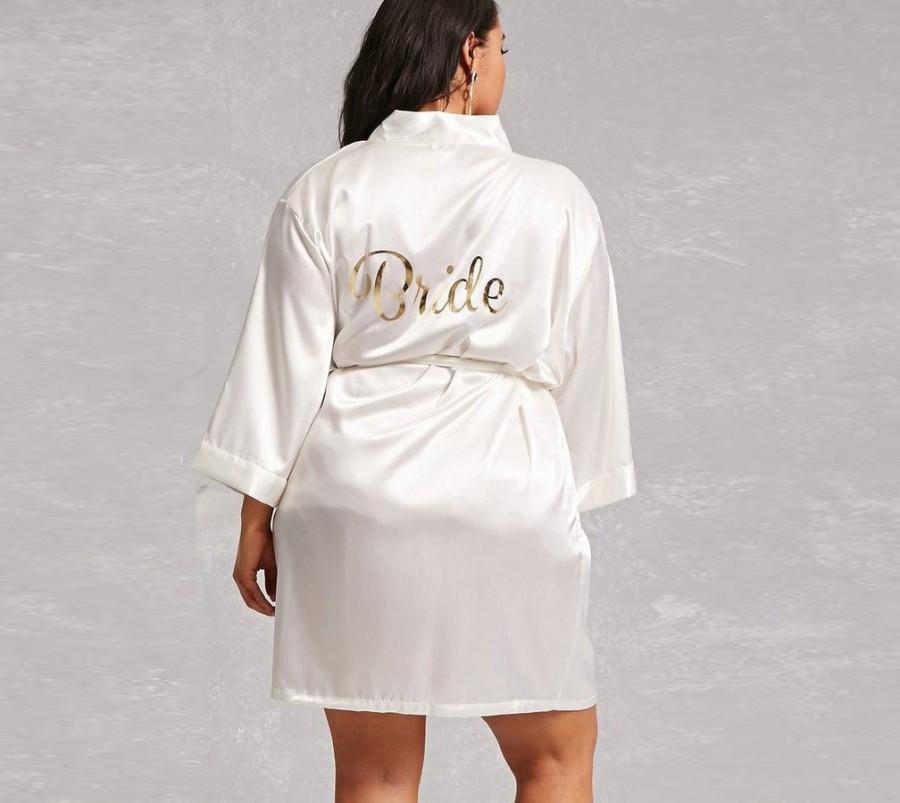 زفاف - Plus Size Bride Robe, Plus Size Robe for Bride, Getting Ready Robe for Plus Size Bride, Ivory Plus Size Metallic Gold Bride, Curvy bride