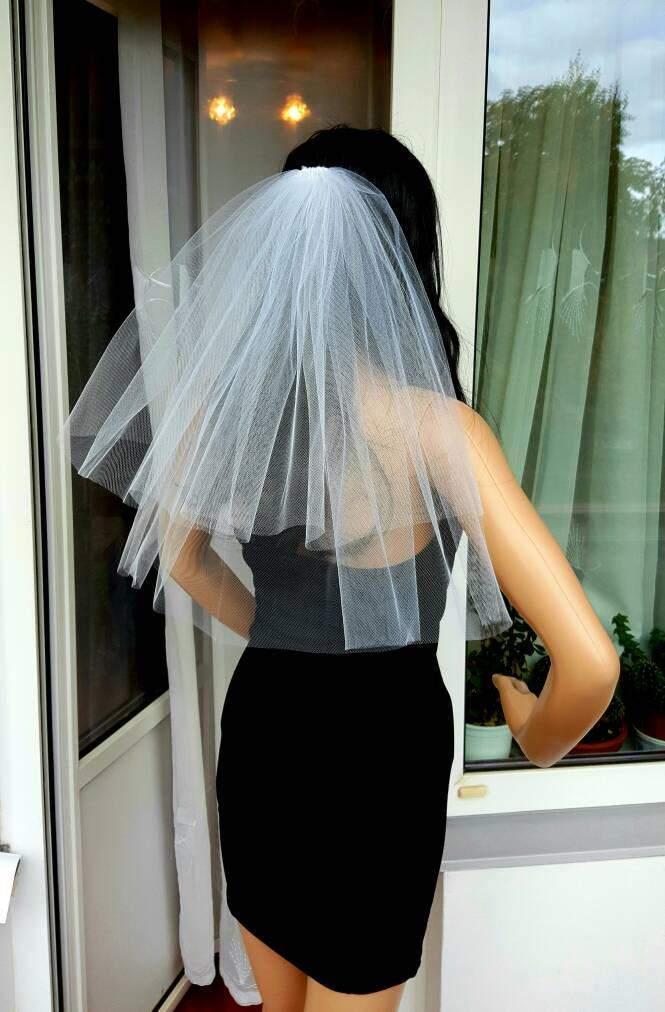 Wedding - White Bachelorette party Veil 2-tier, middle length. Bride veil, accessory, bachelorette veil, wedding veil, hens party veil
