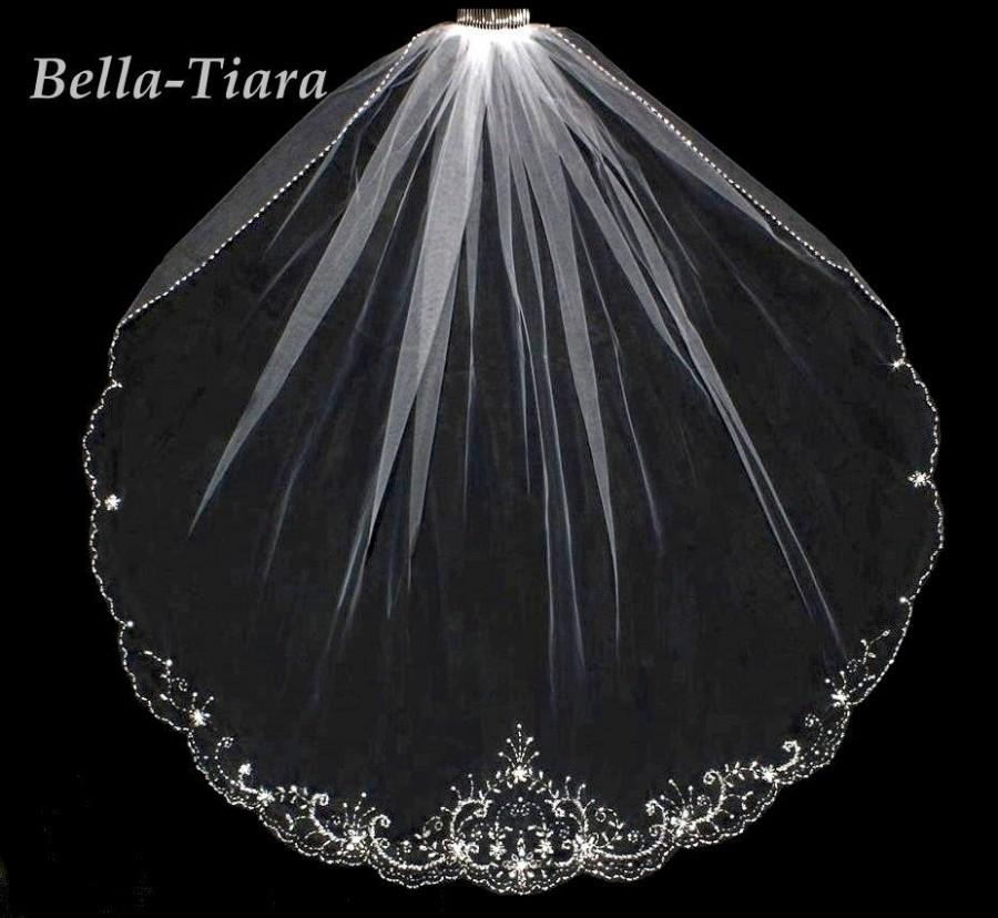 Hochzeit - FREE BLUSHER, crystal wedding veil, cathedral veil, bridal veil, cathedral wedding veil, cathedral beaded veil, veils