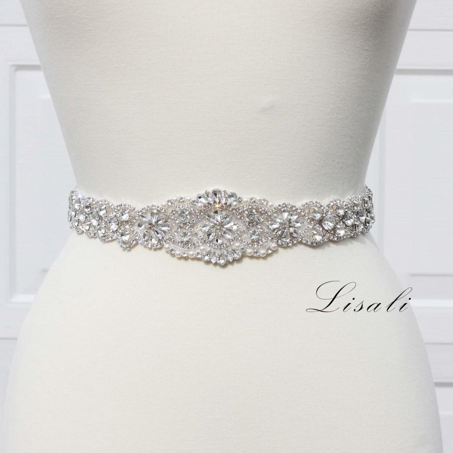 Hochzeit - LISALI Sparkly Wedding Belt, Bridal Belt Sash, Rhinestone Belt, Long Crystal Belt, Crystal Bridal Belt, Wedding Dress Belts