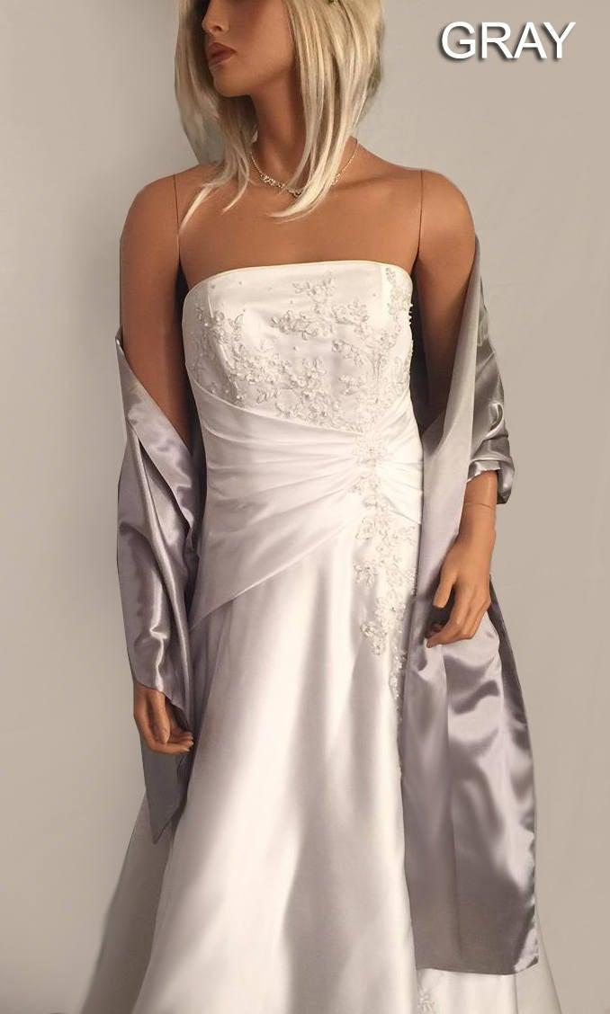Свадьба - Satin wrap wedding shawl scarf bridal sash bridesmaid cover up shrug stole prom evening long SW100 AVL IN silver gray and 18 other colors