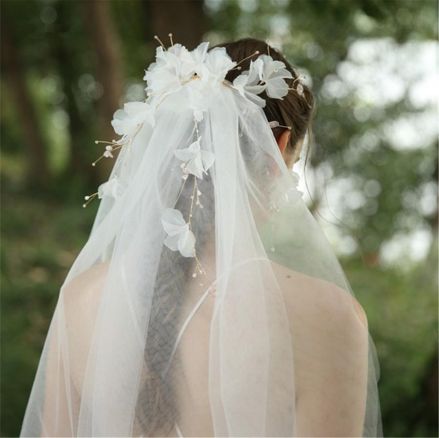Свадьба - 3-D Floral Wedding Veil Soft Bridal Veil Crystal Wedding Veil Fashion Bridal Veil Crystal Wedding Headpiece Ivory Bridal Accessory