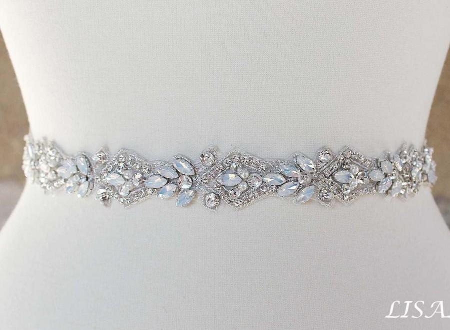 "Hochzeit - LISALI 18""-46"" Opal Bridal Belt, Rhinestone Wedding Sash, Crystal Sash Belt, Wedding Belt, Thin Bridal Sash, Go All Around Belt"