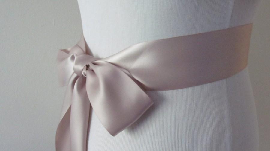 Hochzeit - Taupe Bridal Sash / Double Face Sash  Ribbon /  Ribbon Sash /  DIY sash