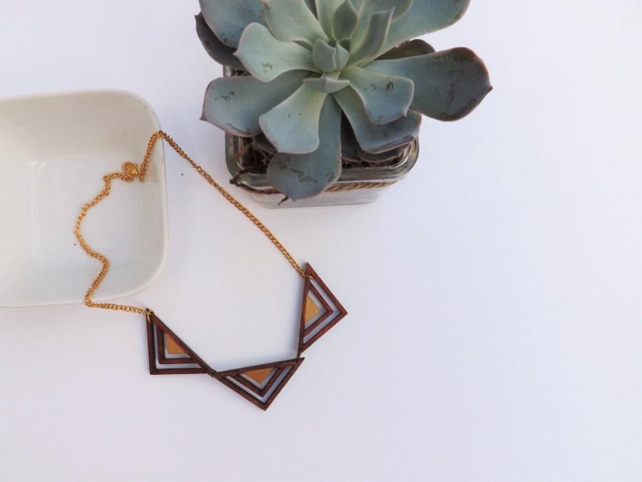 زفاف - Geometric wooden triangle necklace gold ethnic bib necklace triangle bunting necklace wooden jewellery for women birthday gifts for women