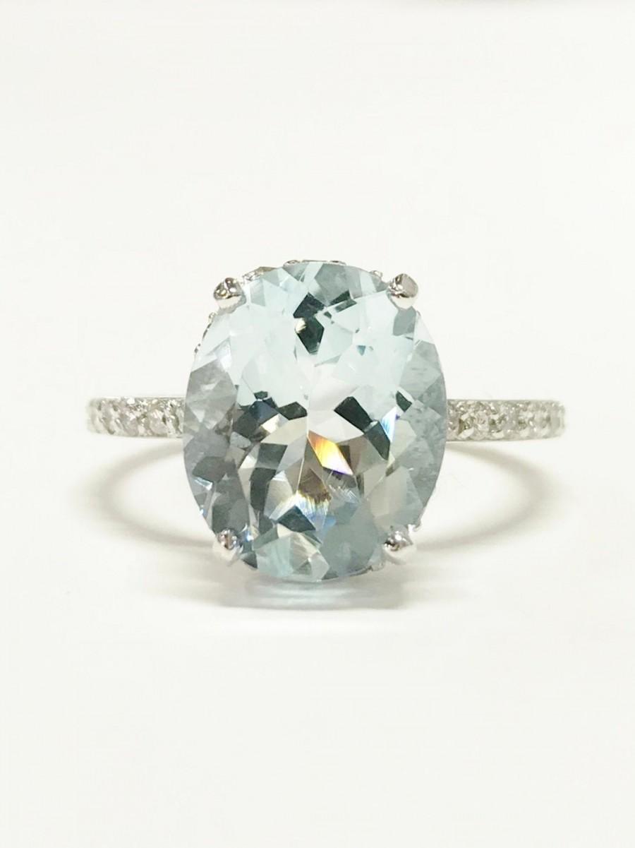Hochzeit - 4.25CT Aquamarine Gemstone Ring Oval Under Halo Diamond Colorstone Engagement Rings Anniversary Platinum 18K 14K White Yellow Rose Gold