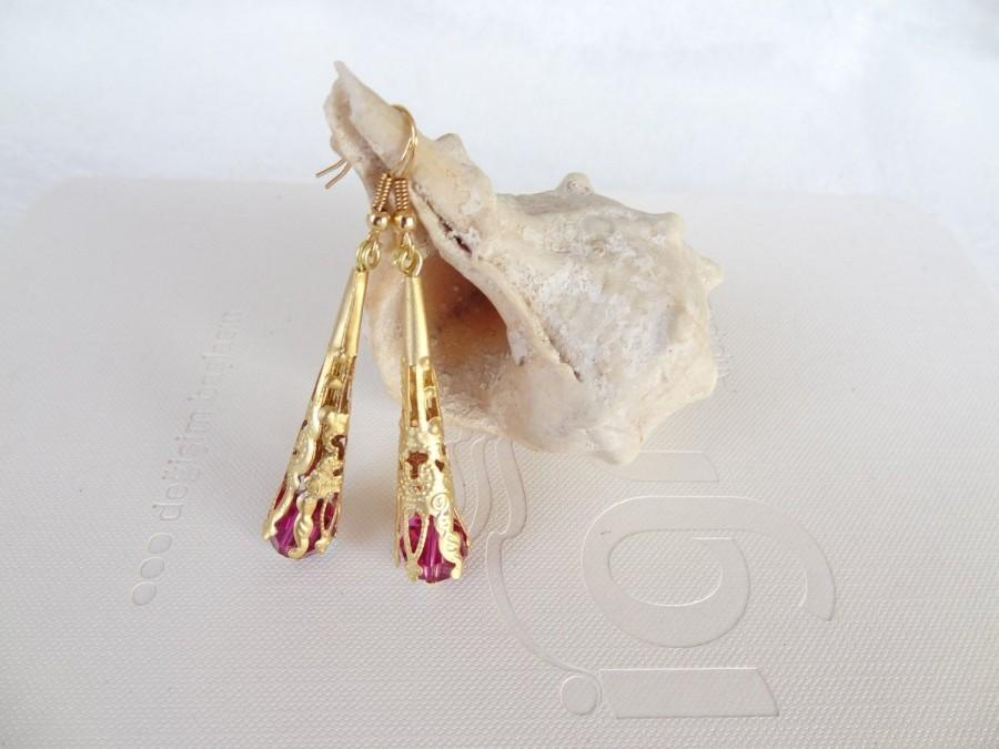 Свадьба - Fuchsia Swarovski Crystal and Gold Earrings, Women for Charm, Dangle Gold Earrings, Bohemian Style, Gift for Girlfriends, Mother's Day Gifts