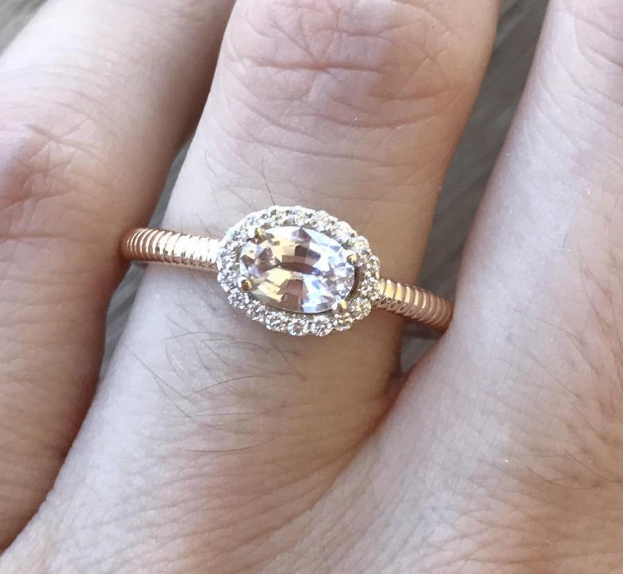 Hochzeit - Peach Sapphire Engagement Ring- Deco Halo Promise Ring- Rose Gold Engagement Ring- Woman Alternative Ring- Simple Oval Anniversary Ring