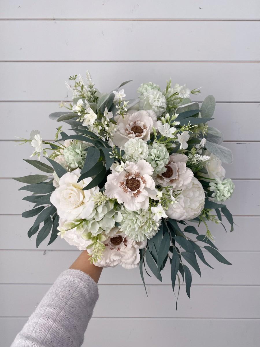 Hochzeit - Wedding bouquet, Sage green bouquet,Bridesmaids bouquet, White Bridal Bouquet, White Peony Bouquet, Eucalyptus wedding bouquet, Silk Bouquet
