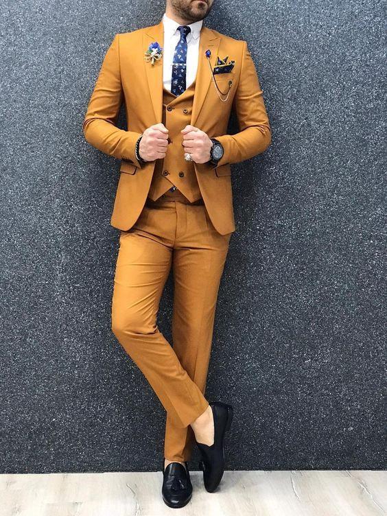 Wedding - Men Suits Mustard Wedding Suit, 3 Piece Groom Wear One Button Slim Fit Suits,