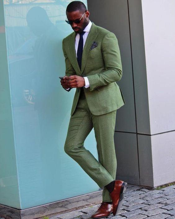 Wedding - Men Suits Light Green 2 Piece Suit, Wedding One Button Groom Wear Slim Fit Suits