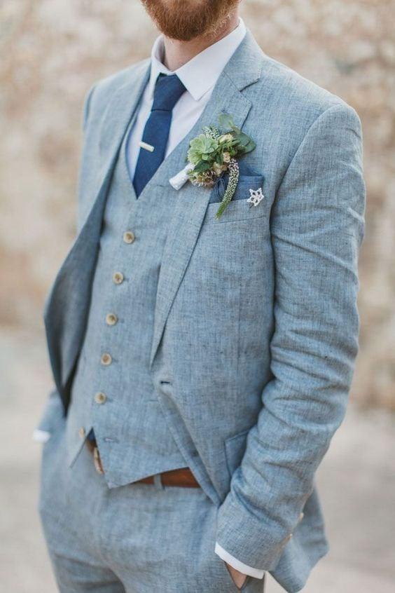 Wedding - Mens Suit Navy Blue Suits Slim fit 3 Piece Summer Suits for Men Groom Wear Dress Beach Wedding Suit Men Dinner Suits
