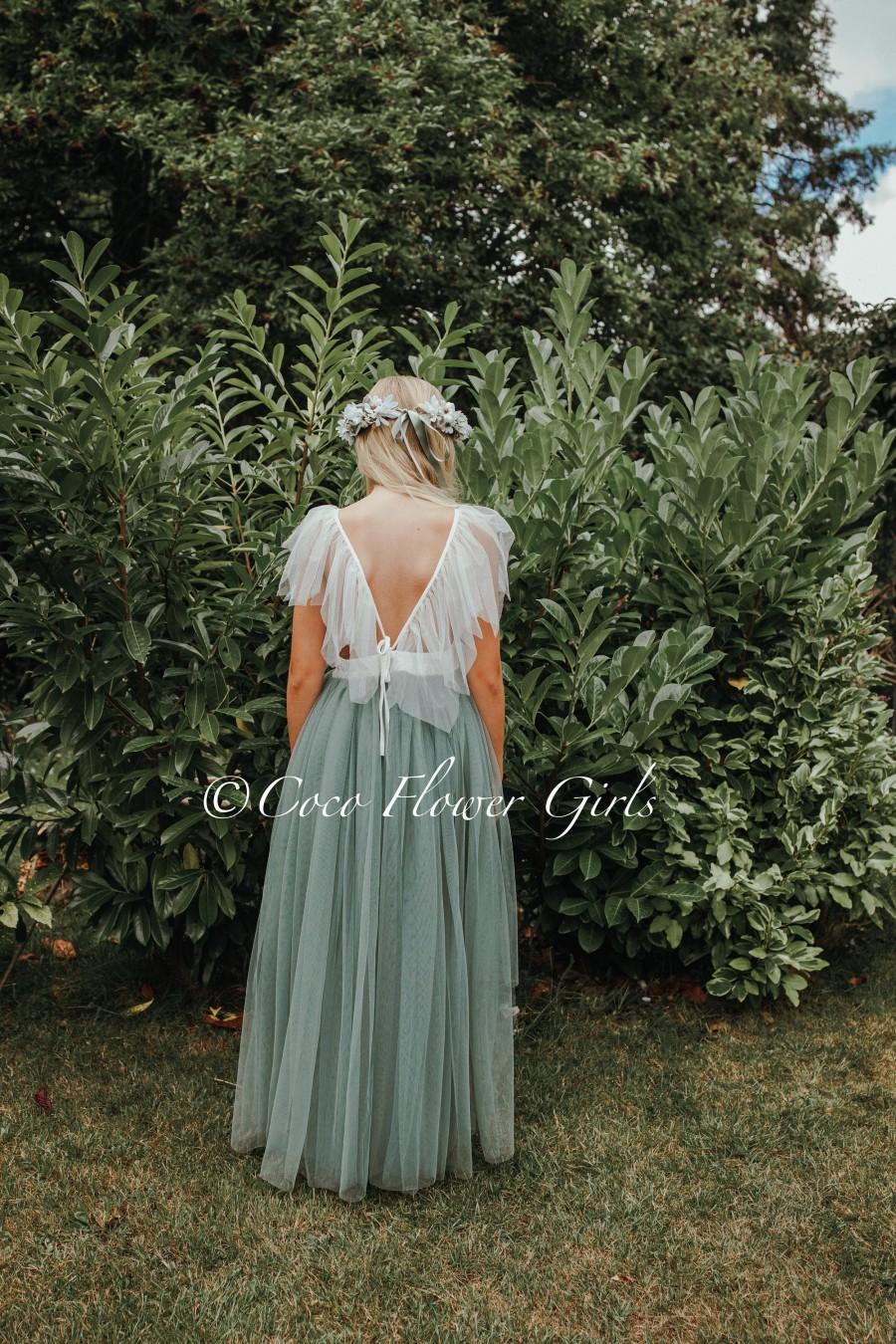 Mariage - Beautiful Bohemian Butterfly Inspired High Low Flower Girl Dress - Bridal Wedding Occasion Dress - Sage Green