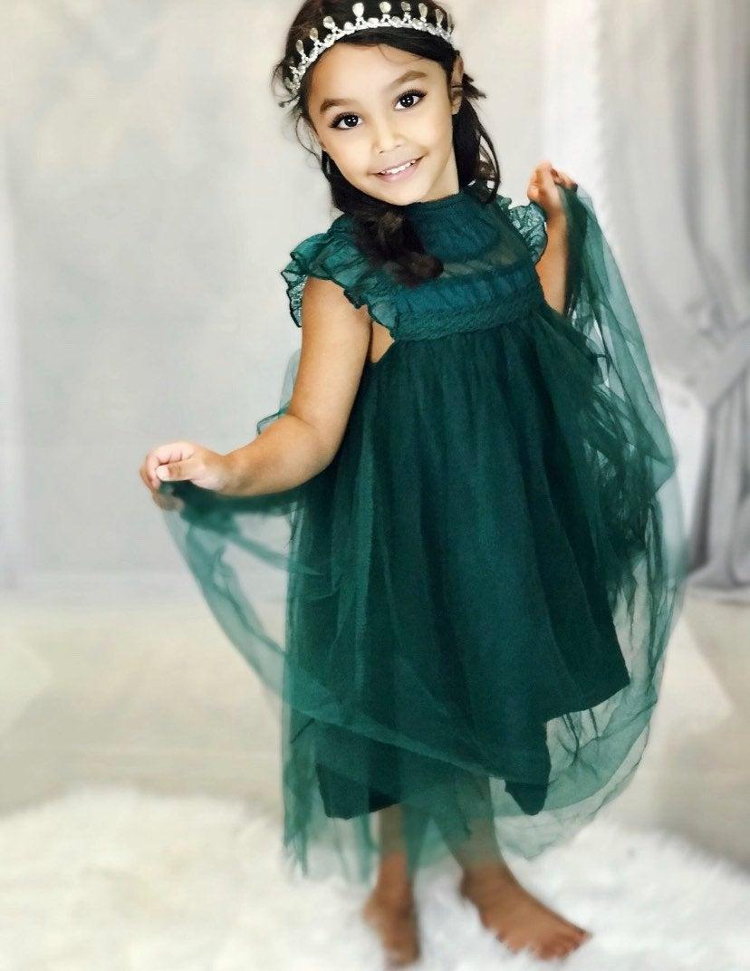 Mariage - Hunter green lace  dress,baby girl  dress ,flower girl lace,tulle  romantic  dress,