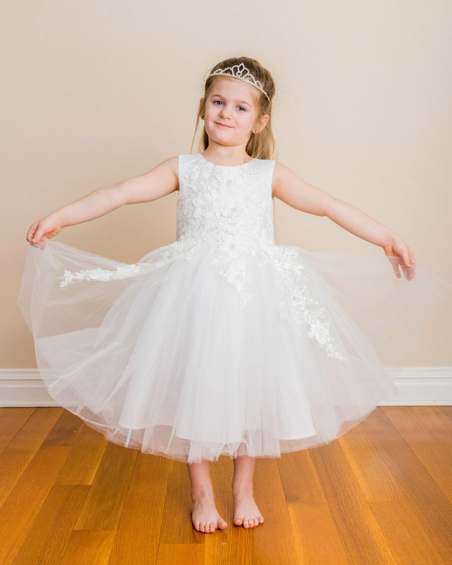 Свадьба - White Tulle flower girl Dress embellished with sparkling sequin floral  First communion dress