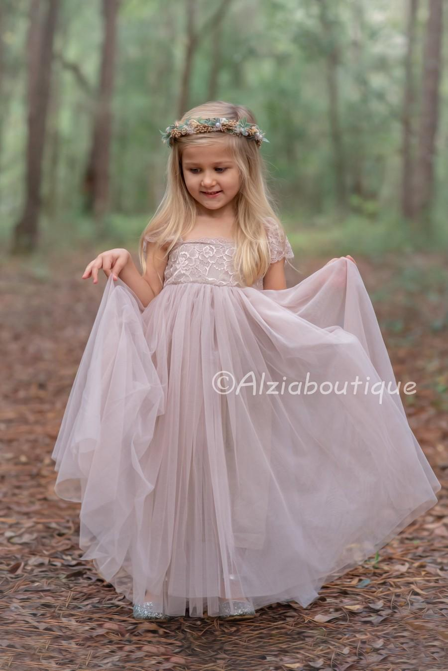 Mariage - Full Length Taupe Tulle Lace Party Flower Girl Dress