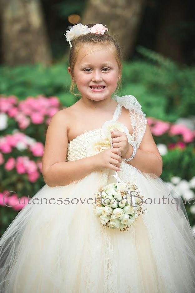 Mariage - Ivory Flower Girl Tutu Dress-Ivory Tutu Dress-Ivory Girl Tutu-Ivory Birthday Tutu-Ivory Wedding Tutu-Ivory Birthday Tutu.