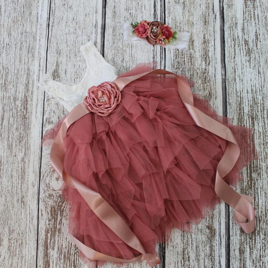 Mariage - Dusty Rose Flower Girl Dress Dusty Rose Tulle White Lace Flower Girl Dress Rustic Sleeveless Dress