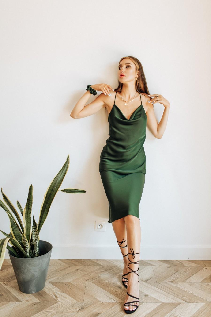 Mariage - Forest Green Sexy Silk Slip Dress Cowl-neck Silk slip midi dress bridesmaid dress slip prom dress date dress