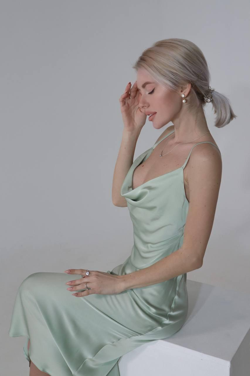 Mariage - Silk Bridesmaid Dress With Cowl Neck, Close-fitting Cut Silk Sexy Dress For Special Occasions, Satin Bridesmaid Dress, Midi Silk Slip Dress