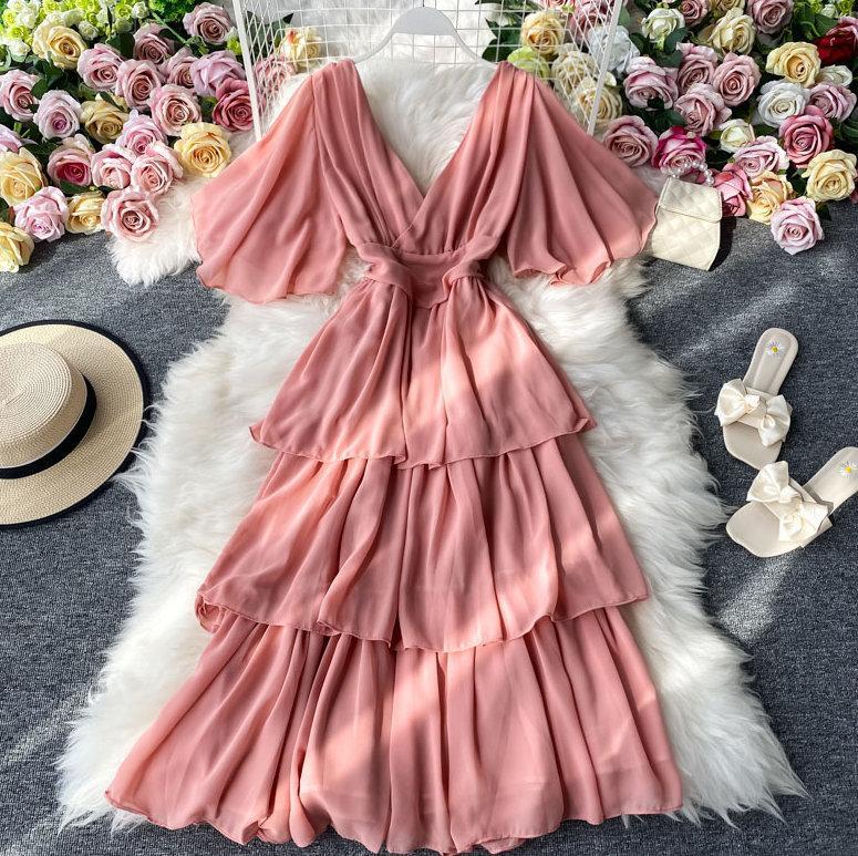 Mariage - Elegant Chiffon Dress. Ruffle Flare Dress. Dresses for Women. Summer Outfit Women. Vintage Dress
