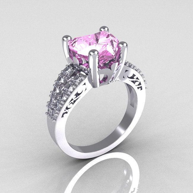 Wedding - Modern Vintage 14K White Gold 3.0 Carat Heart Light Pink Sapphire Diamond Solitaire Ring R134-14KWGDLPS
