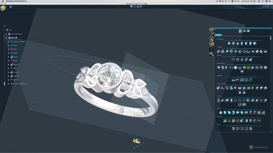 زفاف - 3D Printed - Custom Designed Engagement Ring - Includes Finished Silver Ring