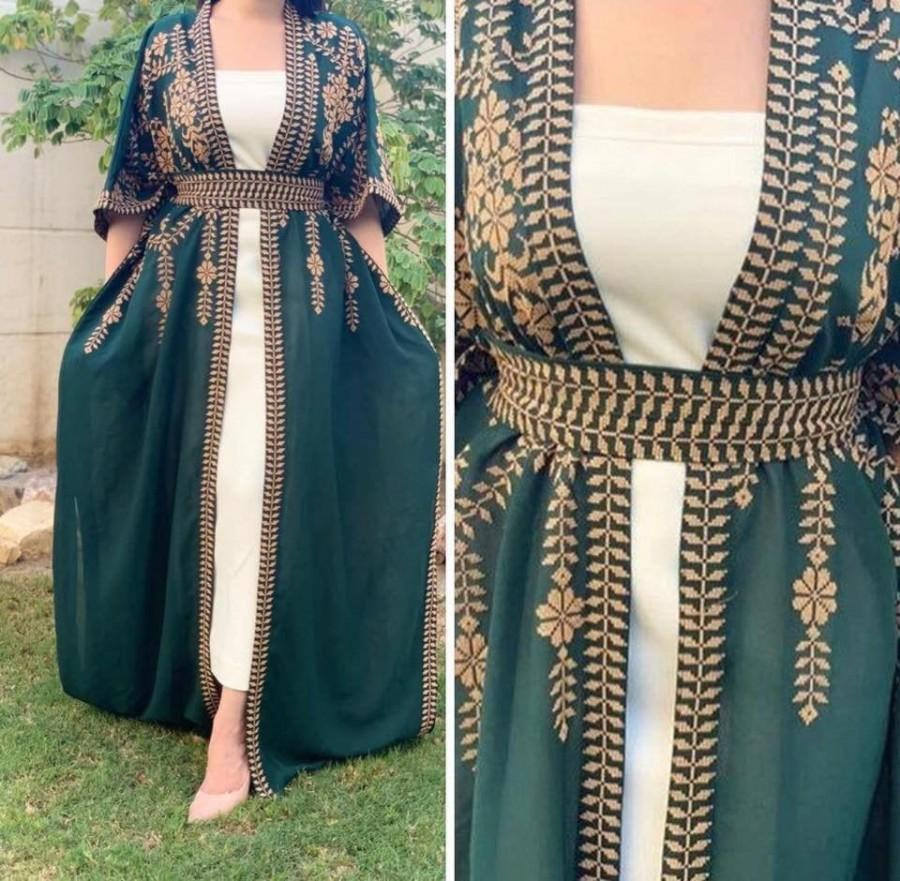 Mariage - two parts dress one size Abaya thobe Embroidered Palestinian Jordanian Traditional Arabic Dress Capetwo