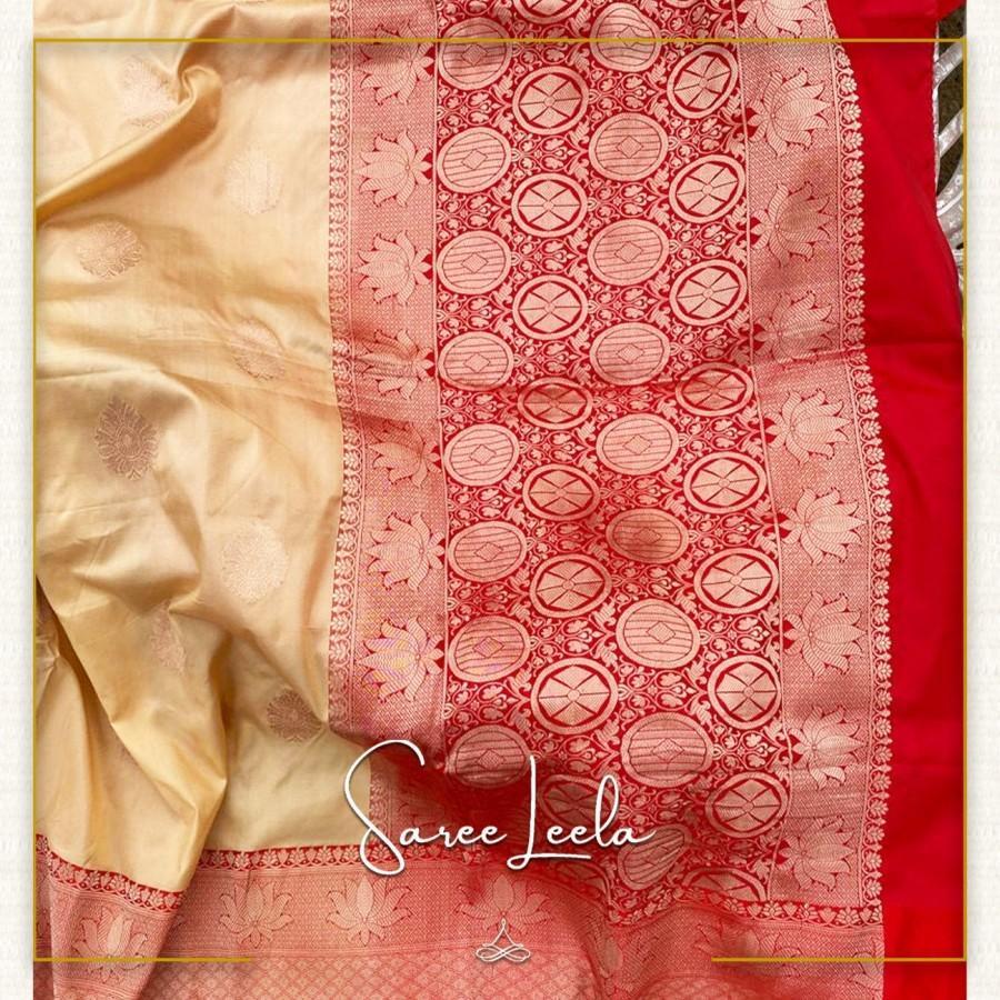 Wedding - Exclsuive Saree : Cream gold / Red Banarasi silk saree