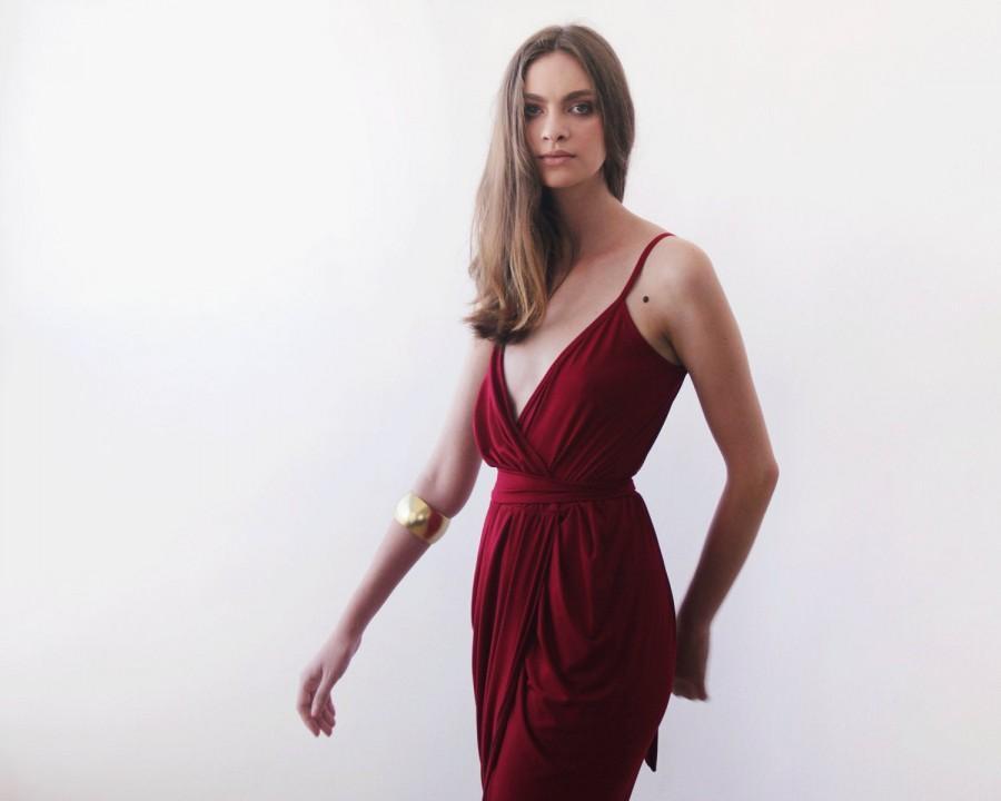 Mariage - Wrap maxi Bordeaux gown, Bordeaux tulip maxi gown 1033