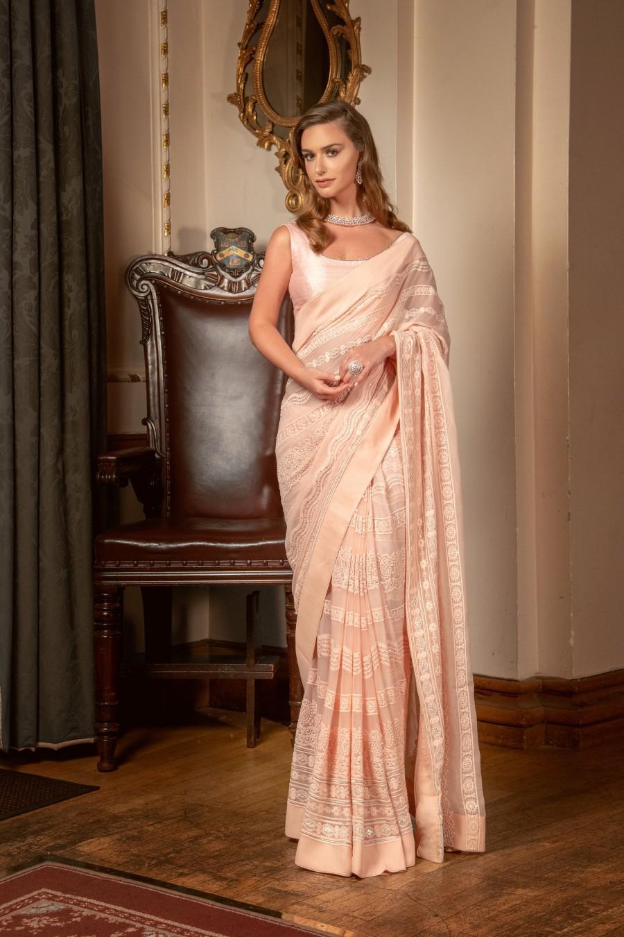 Mariage - Saree: Pure Chikankari Pink Peach Saree