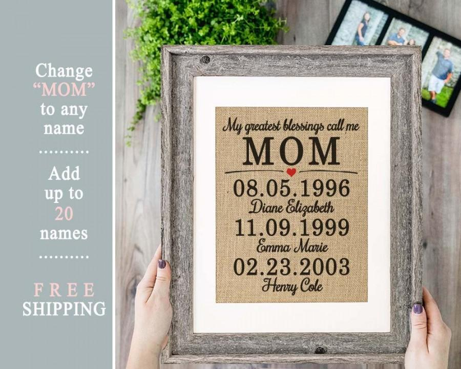Mariage - Mother's Day Gift Personalized Gift Mom Gift from Son Burlap Mother's Day Gift from Daughter Birthday Gifts for Mom Mother Daughter Gift