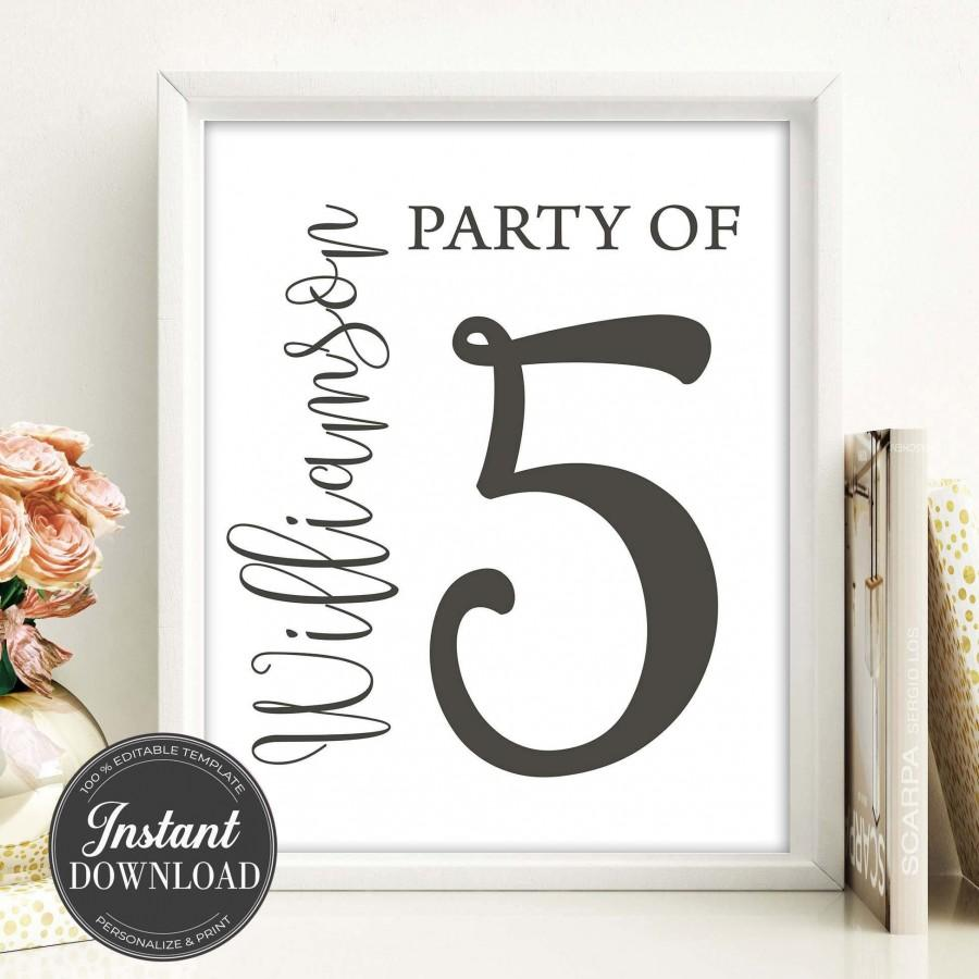 Mariage - Family Party of Printable-Family Sign-Custom Family Print-Party of 5 Printable-Last Name Print-Family Name Sign-Number Sign-Fully Editable