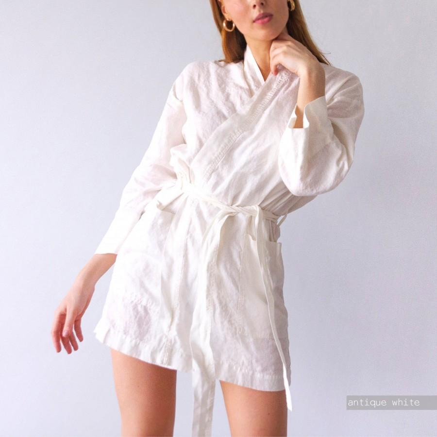 Mariage - LINEN ROBES, short robe above the knee, bridesmaid robe, bridal robe, bridesmaid robe, bridesmaid robes, bridal robes, wedding, white robe