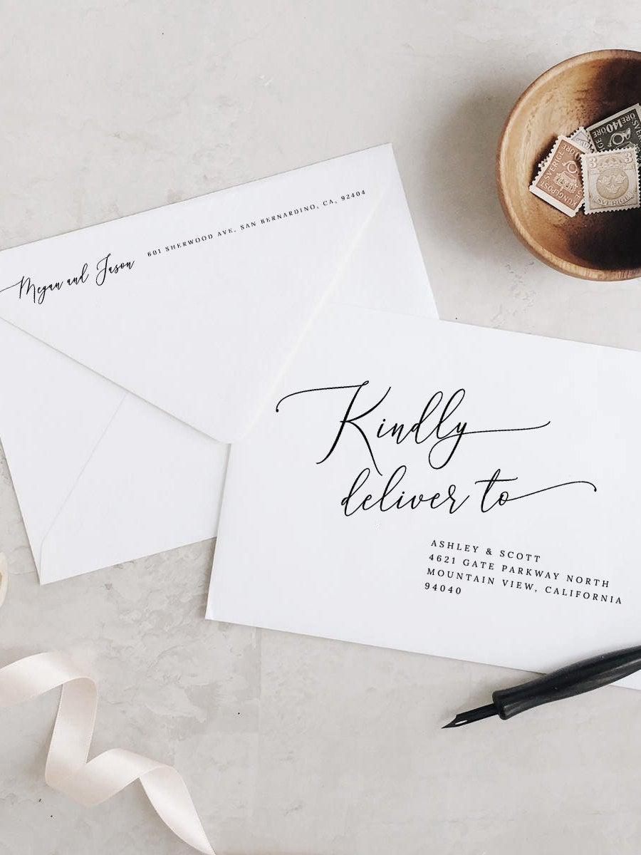 Wedding - Printable Envelope Address Template Modern Calligraphy Wedding Envelope Address PDF Editable Address Templett Addressing Template DIY