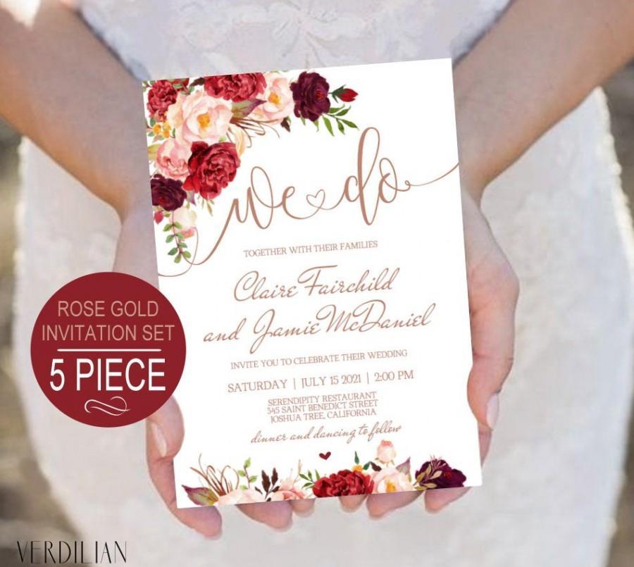 Wedding - DIY Rose Gold We Do Wedding Invitation Template. Burgundy Floral Watercolor Printable Wedding Invite Set. DIY PDF Instant Download VRD137AWR